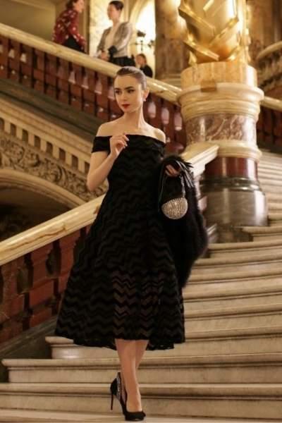 Off-shoulder black dress