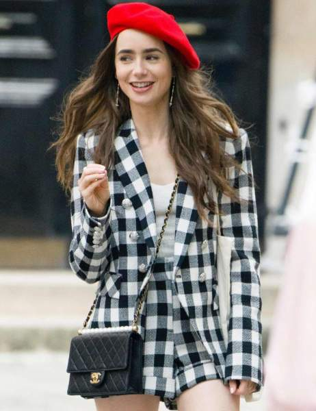 The checked blazer and Red beret