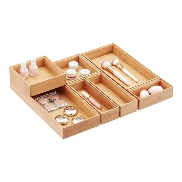 The Container Store Bamboo Tray Organisers