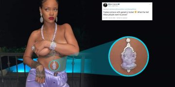 Rihanna Poses Topless with Ganesha Necklace