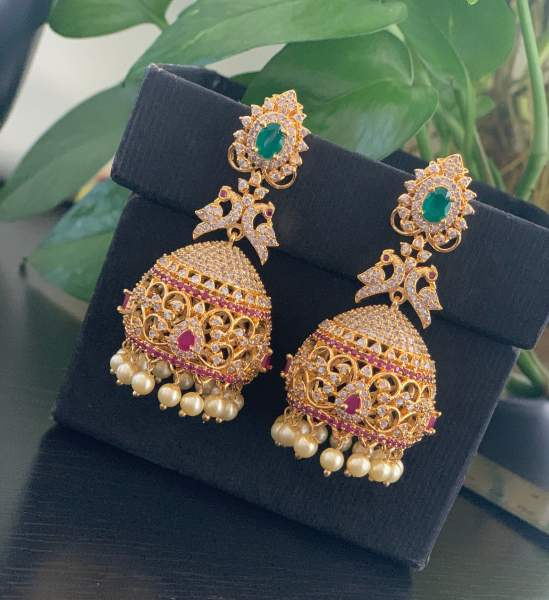 Blue Meena Jhumki Jhumka Earrings