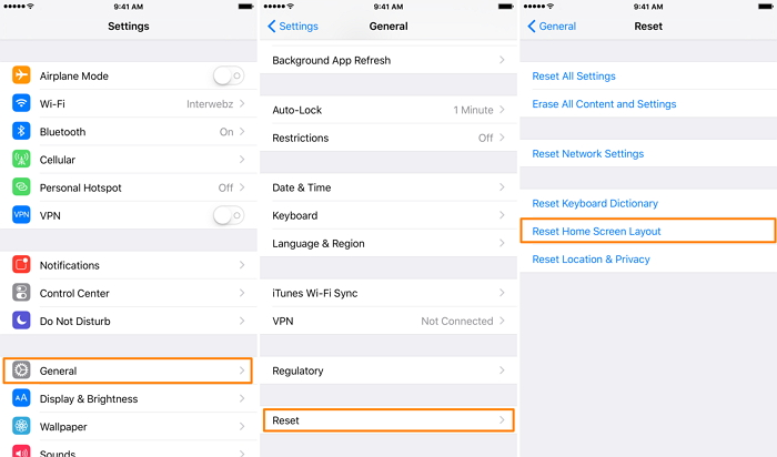 Reset Home iPhone Screen