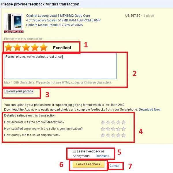 Write a review on Aliexpress