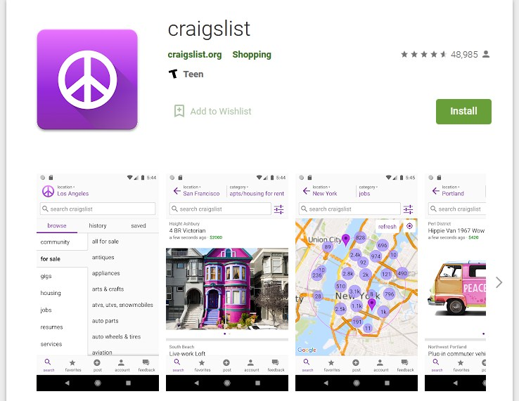 Craigslist Android app