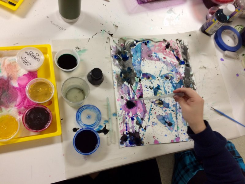 Pouring Paintings with Water Colours