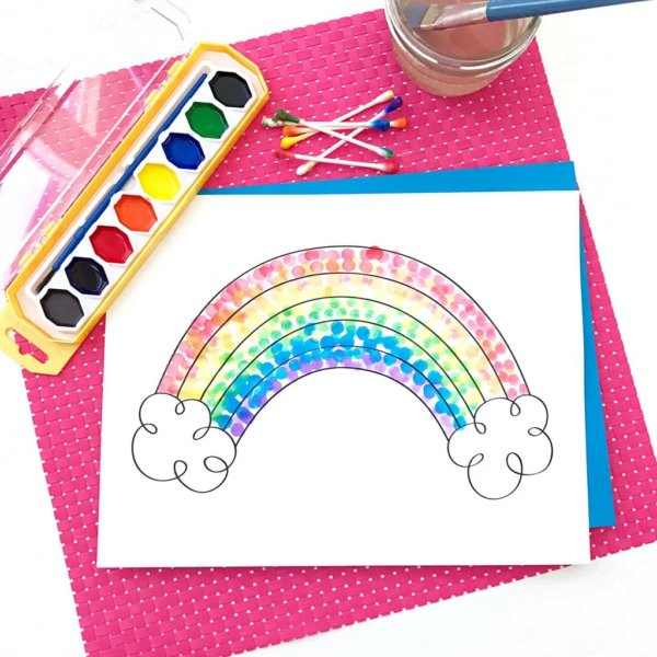 Q- Tips Rainbow Painting Ideas for Kids