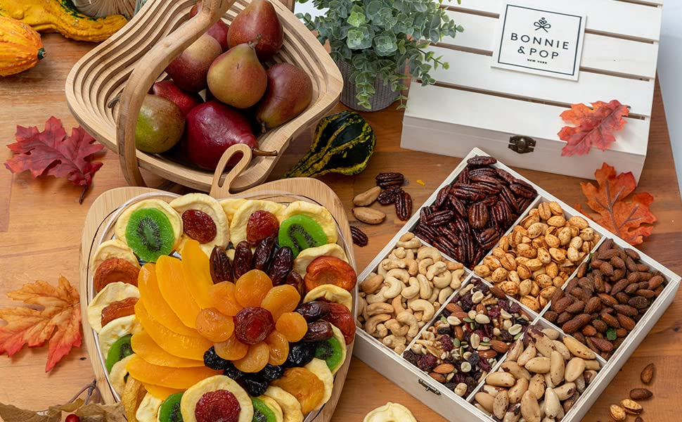 Fruits and Dry Fruits combined in a hamper